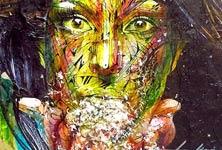 Face a face streetart by Alex Hopare