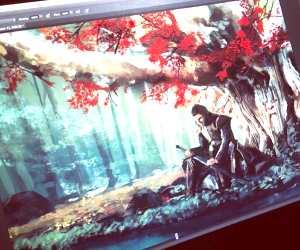 Ned under the Godswood digitalart by Alice X Zhang