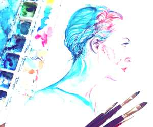Portrait watercolor painting by Alice X Zhang
