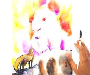 Dialogue watercolor painting by Art Jongkie