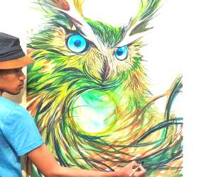 Owl painting by Art Jongkie