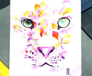Leopard watercolor painting by Art Jongkie