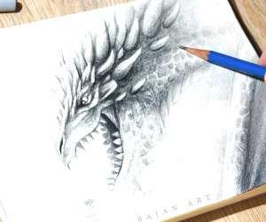 Dragon sketch drawing by Bajan Art