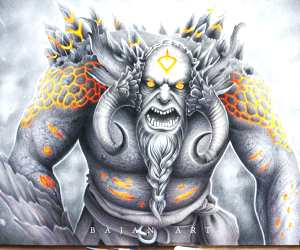 Troll, drawing by Bajan Art