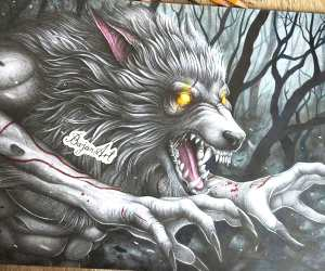 Werewolf drawing by Bajan Art