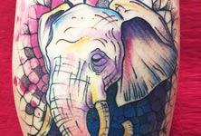 Mandala elephant tattoo by Bambi Tattoo