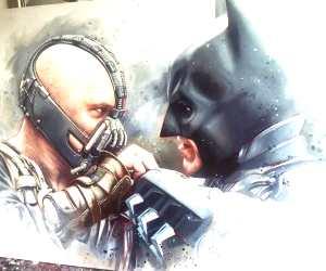 Bane vs Batman painting by Ben Jeffery