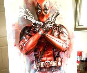 Deadpool oil painting by Ben Jeffery