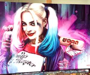 Harley Quinn color painting by Ben Jeffery