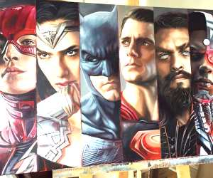 Justice League oil painting by Ben Jeffery