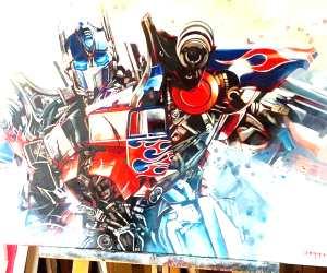 Optimus Prime painting by Ben Jeffery