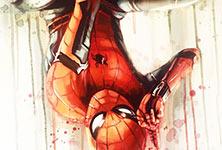 Spiderman acryl painting by Ben Jeffery