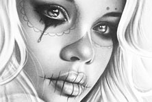 Muerte tattoo design drawing by Charles Laveso
