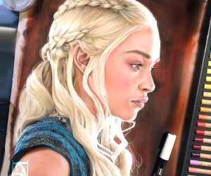 Daenerys Targaryen color drawing by Craig Deakes