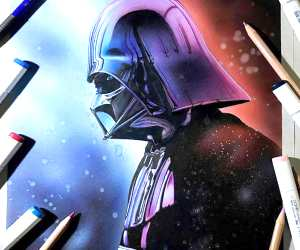 Darth Vader color drawing by Craig Deakes