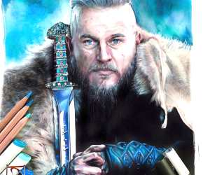 Ragnar Lothbrok pencil drawing by Craig Deakes