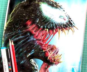 Venom pencil drawing by Craig Deakes