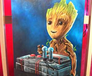 Baby Groot oil painting by Elienka Art