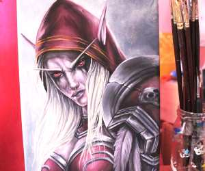Sylvanas Windrunner oil painting by Elienka Art