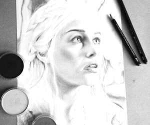 Daenerys Targaryen pencil drawing by Gina Friderici