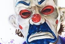 Clown mask Joker airbrush by Jonathan Knight Art