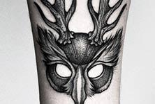 Mask dotwork tattoo by Kamil Czapiga