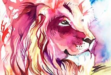 Giant Lion watercolor painting by Katy Lipscomb Art