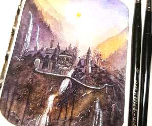Rivendell watercolor painting by Kinko White