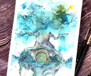 Shire watercolor painting by Kinko White