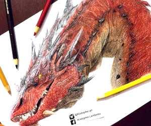 Smaug pencil drawing by Kristopher Lambertin