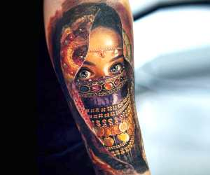 Girl Face tattoo by Led Coult