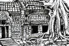 House tree pen drawing by Lukas Lukero Art