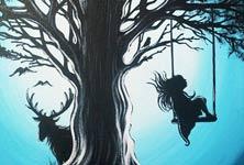 Silence in Woods acryl painting by Mirik Bodliak