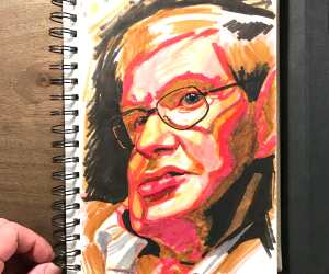 Stephen Hawking marker drawing by Nikko Hurtado