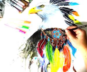 Eagel and Feathers color drawing by Pixie Cold