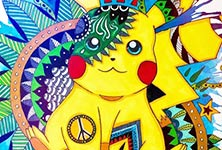Pikachu watercolor painting by Pixie Cold