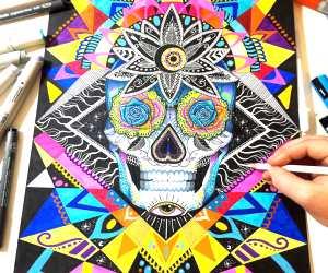 Skull illustratiom by Pixie Cold