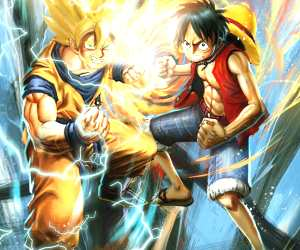 Goku and Luffy drawing by Rudy Nurdiawan