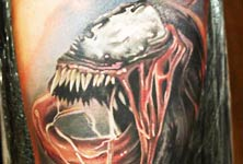 Venom spiderman tattoo by Sergey Shanko