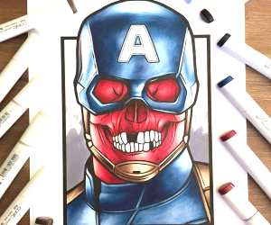 Captain Red Skull pencil drawing by Stephen Ward