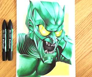 Green Goblin drawing by Stephen Ward