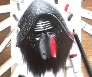 Kylo Ren pencil drawing by Stephen Ward