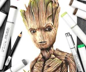 Teenage Groot pencil drawing by Stephen Ward