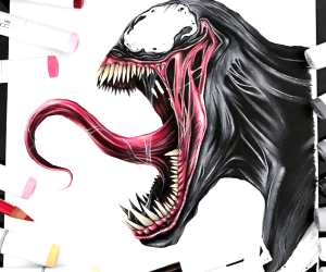 Venom pencil drawing by Stephen Ward