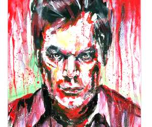 Dexter watercolor painting by Surbina Psychobilla