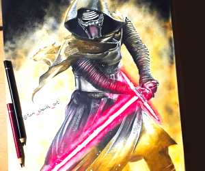 Kylo Ren color drawing by Tom Chanth Art