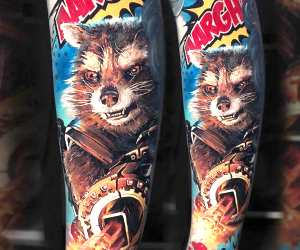 Rocket Raccoon tattoo by Valentina Ryabova