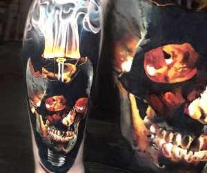 Skull tattoo by Valentina Ryabova